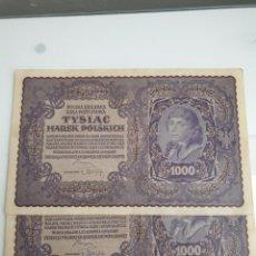 Billetes extranjeros: 1000 MARCAS POLACAS 1919.PAREJA CONMERATIVA.SIN CIRCULAR.. Lote 195474501