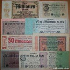 Billetes extranjeros: ALEMANIA. LOTE DE 9 BILLETES. ÉPOCA DE INFLACIÓN. 1923, DIFERENTES. CIRCULADOS.. Lote 195478475