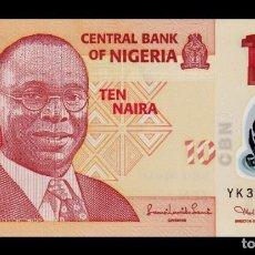 Billetes extranjeros: NIGERIA 10 NAIRA 2010 PICK 39A SEGUNDA FIRMA POLÍMERO SC UNC. Lote 195484143