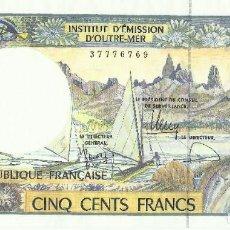 Billetes extranjeros: 500 FRANCOS . TERRITORIOS FRANCESES DEL PACÍFICO. UNC. Lote 195484211