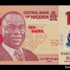 Billetes extranjeros: NIGERIA 10 NAIRA 2015 PICK 39F POLÍMERO SC UNC. Lote 195484740