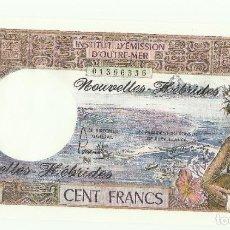 Billetes extranjeros: NUEVAS HÉBRIDAS 1977. 100 FRANCOS. UNC. Lote 195485415