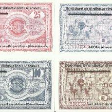 Billetes extranjeros: LOTE 4 BILLETES KOSOVO 1999. 10-25-50-100 DINARES. UNC. Lote 195486055