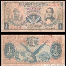 Billetes extranjeros: COLOMBIA 1 PESO ORO 1962 PIK 404B MBC-. Lote 195489560