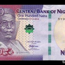 Billetes extranjeros: NIGERIA 100 NAIRA CONMEMORATIVO 2014 PICK 41A SC UNC . Lote 195492363