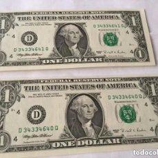 Billetes extranjeros: USA - 2 BILLETES DE 1 DÓLARES CORRELATIVOS - PLANCHA-1995. Lote 195534956