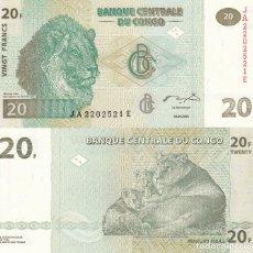 Billetes extranjeros: L099 BILLETE CONGO 20 FRANCOS 2003 SIN CIRCULAR. Lote 195550987