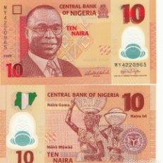 Billetes extranjeros: L178 BILLETE NIGERIA 10 NAIRA 2009 POLIMERO SIN CIRCULAR . Lote 195551125