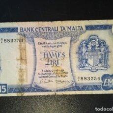 Billetes extranjeros: BILLETE ORIGINAL DE MALTA 5 LIBRAS DE 1967 CIRCULADO. Lote 196599712