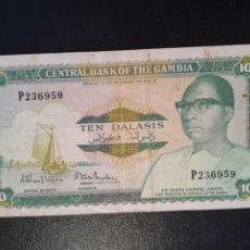 Billetes extranjeros: BILLETE ORIGINAL DE GAMBIA 10 DALASIS 1987/90 CIRCULADO. Lote 196600610