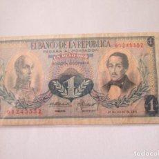 Billetes extranjeros: COLOMBIA * 1 PESO ORO 1972. Lote 197642730