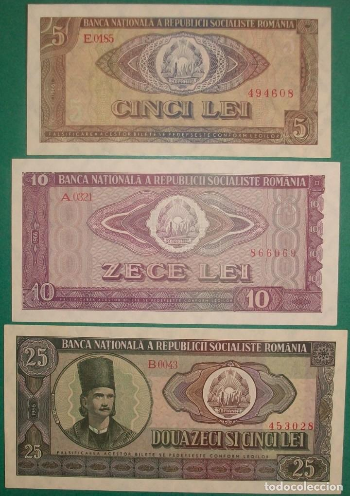 RUMANÍA. 5, 10 Y 25 LEI. 1966. PICK: 93,94,95. SC-/SC/UNC (Numismática - Notafilia - Billetes Extranjeros)