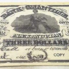 Billetes extranjeros: RÉPLICA BILLETE GRANVILLE. 1838. 3 DÓLARES. ESTADOS UNIDOS DE AMÉRICA. Lote 197804971