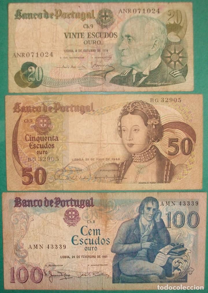 PORTUGAL. LOTE/SET 3 BILLETES: 20, 50 Y 100 ESCUDOS. 1968-1981. PICK: 174,176,178. CIRCULADOS (Numismática - Notafilia - Billetes Extranjeros)