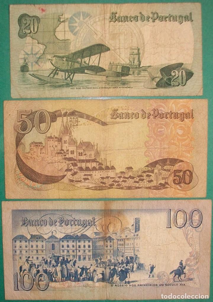 Billetes extranjeros: PORTUGAL. Lote/Set 3 billetes: 20, 50 y 100 Escudos. 1968-1981. Pick: 174,176,178. Circulados - Foto 2 - 197832132