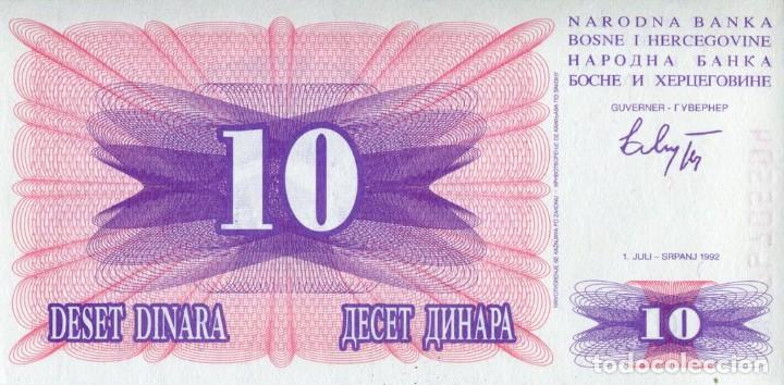BOSNIA HERZEGOVINA 10 DINAR 1992 145 X 73 MILÍMETROS AG 81297729 (Numismática - Notafilia - Billetes Extranjeros)