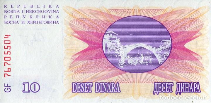 Billetes extranjeros: BOSNIA HERZEGOVINA 10 DINAR 1992 145 x 73 milímetros AG 81297729 - Foto 2 - 198281441