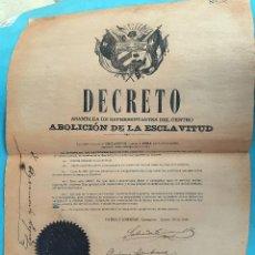 Billetes extranjeros: DOCUMENTO ESCLAVOS, DECRETO ABOLICION ESCLAVITUD, CUBA 1869, VER FIRMAS, ASAMBLEA REPRESENTANTES. Lote 198923890