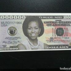 Billetes extranjeros: USA (BILLETES DE FANTASÍA) MICHELLE OBAMA (1 MILLÓN, 1.000.000). Lote 198984232