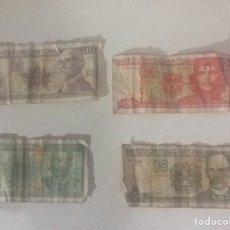 Billetes extranjeros: LOTE 4 BILLETES PESOS CUBANOS. Lote 199063678