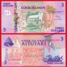 Billetes extranjeros: ISLAS COOK 3 DOLARES 1992 PICK 7 SERIE AAA SC . Lote 199072103