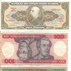 Billetes extranjeros: 4 BILLETES DISTINTO VALOR DE CRUZEIROS BRASILEÑOS. Lote 199109306