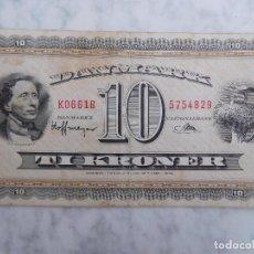 Banconote internazionali: DINAMARCA BILLETE DE 10 KRONER CORONAS AÑO 1936. Lote 199149231