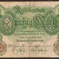Notas Internacionais: ALEMANIA. 50 MARK 10.3.1906. PICK 26 A. 6 DIGITOS.. Lote 198858403