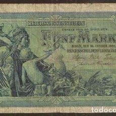 Banconote internazionali: ALEMANIA (IMPERIO). 5 MARK 31.10.1904. PICK 8 A. 6 DIGITOS.. Lote 198858443