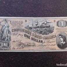 Banconote internazionali: BILLETE CONFEDERATE STATES OF AMERICA. 1 DOLLAR AÑO 1862 RICHMOND. Lote 199328981