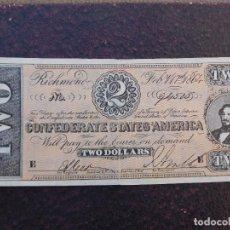 Banconote internazionali: BILLETE CONFEDERATE STATES OF AMERICA. 2 DOLLAR AÑO 1864 RICHMOND. Lote 199329792