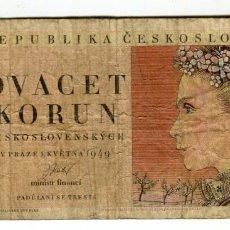 Billetes extranjeros: CHECOSLOVAQUIA 20 KORUN AÑO 1949 USADO SIN ROTURAS. Lote 199688003