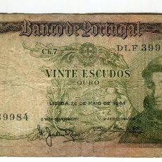 Billetes extranjeros: PORTUGAL 20 ESCUDOS DE ORO AÑO 1964 USADO SIN ROTURAS. Lote 199688235