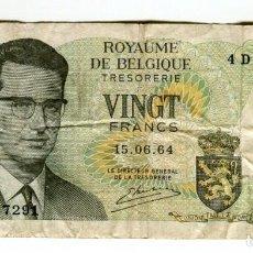 Billetes extranjeros: BELGICA 20 FRANCOS AÑO 1964 CIRCULADO SIN ROTURAS. Lote 199688717