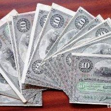 Billetes extranjeros: LOTE DE 13 BILLETES DE 10 PESOS CUBANOS. BANCO ESPAÑOL DE LA ISLA DE CUBA. LA HABANA, MAYO DE 1896. Lote 199704231