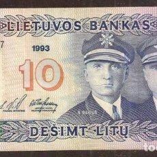 Notas Internacionais: LITUANIA (LITHUANIA). 10 LITU 1993. PICK 56. Lote 200064847