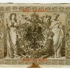 Billetes extranjeros: 1000 (MIL) MARCOS AÑO 1910 SELLO ROJO. Lote 200186152