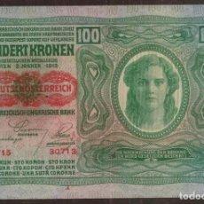 Notas Internacionais: AUSTRIA. 100 KRONEN (1919). CON SELLO ROJO DE REPUBLICA.. Lote 200390537