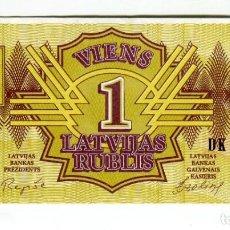 Billetes extranjeros: LETONIA 1 (UN) RUBLIS AÑO 1992 SIN CIRCULAR. Lote 200756390