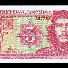 Billetes extranjeros: CUBA 3 PESOS CHE GUEVARA 2005 PICK 127B SC UNC. Lote 255939030