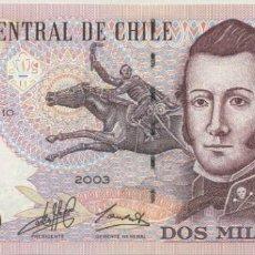 Billetes extranjeros: CHILE 2000 PESOS 2003. PICK 158. EMISION PAPEL. SIN CIRCULAR. Lote 201966325