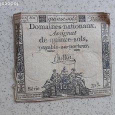 Notas Internacionais: FRANCIA. ASSIGNAT. 5 SOLS 1793. Lote 202854646