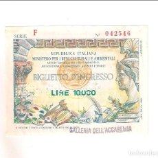 Billetes extranjeros: REPUBBLICA ITALIANA 10.000 LIRE BIGLIETTO D,INGRESSO 1994, GALLERIA DELL'ACCADEMIA (BE522). Lote 202954733