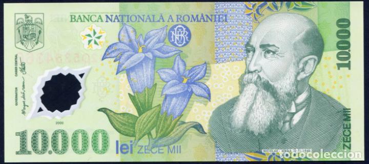 RUMANIA: 10000 LEI 2000 S/C PICK 112 PLASTICO (Numismática - Notafilia - Billetes Internacionales)