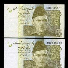 Billetes extranjeros: PAKISTAN 5 RUPIAS AÑO 2008 - PAREJA CORRELATIVA ( MUHAMMAD ALI JIHNAH - FUNDADOR DE PAKISTAN ). Lote 204147962