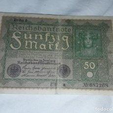 Billetes extranjeros: ANTIGUO BILLETE ALEMANIA 50 MARK REIHE 1 AÑO 1919. Lote 204197068