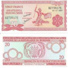 Billetes extranjeros: BILLETE DE BURUNDI 20 FRANCOS 2007 SC. Lote 204262108
