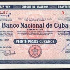 Billetes extranjeros: CUBA - 20 PESOS CUBANOS - AÑOS 80 - RARO. Lote 204796221