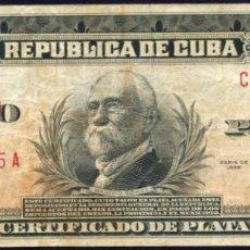 Billetes extranjeros: CUBA - 5 PESOS CERTIFICADO DE PLATA 1938. Lote 204984923
