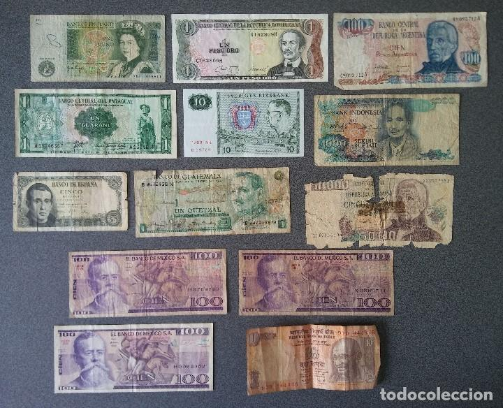 LOTE BILLETES INGLATERRA REPUBLICA DOMINICANA ARGENTINA PARAGUAY SUECIA INDONESIA ESPAÑA GUATEMALA (Numismática - Notafilia - Billetes Extranjeros)